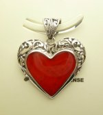 22x24mm Red Coral Heart Pendant w/ 925 Silver