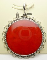 43x43mm Red Coral Pendant w/ 925 Silver