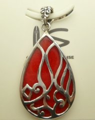 Red Coral Cluster Design Sterling Silver 925 Pendant 12g YY043