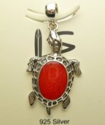 35x24mm Red Coral Turtle Pendant w/ 925 Silver