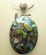 40x28mm Abalone Shell Pendant w/ 925 Silver