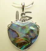 34x33mm Abalone Shell Heart Pendant w/ 925 Silver