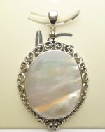 38x30mm White MOP Shell Pendant w/ 925 Silver