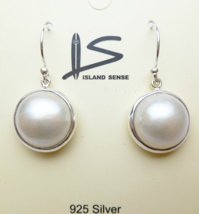 925 Silver 15mm Round Mabe Pearl Earring