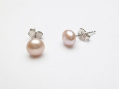 925 Silver 5mm Round Lavender Fresh Water Pearl Earring
