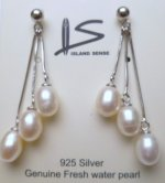 Triple White Fresh Water Pearl Earring with 925 Silver