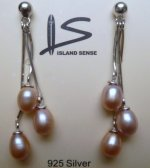 Triple Lavender Fresh Water Pearl Earring with 925 Silver