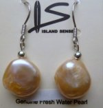 11mm-12m Peach Coin Fresh Water Pearl Earring with 925 Silver