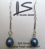 Black - 8mm x 9mm Long Fresh Water Pearl Earring with 925 Silver