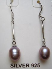 Lavender 8mm x 9mm Long Fresh Water Pearl Earring w/ 925 Silver