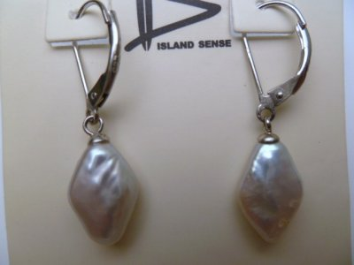 White Freshwater Pearl w/ 925 Silver Lever Back Earrings