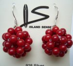 Red Quartz Bead Earring with 925 Silver Earring Hook