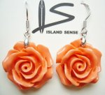 925 Silver-20mm Sythetic Pink Rose Flower Dangle Earring