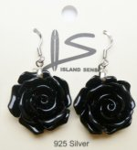 20mm Sythetic Black Rose Flower with 925 Silver Dangle Earring