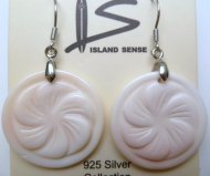 25mm Pink Conch Flower with 925 Silver Earring Hook