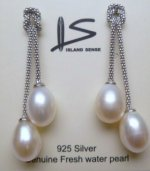 9mm White Fresh Water Pearl Earring with 925 Silver