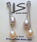 9mm Peach & Lavender Fresh Water Pearl Earring with 925 Silver