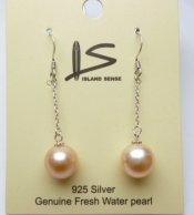 10 mm Peach Fresh Water Pearl Dangle Earrings
