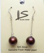 10 mm Cranberry Fresh Water Pearl Dangle Earrings