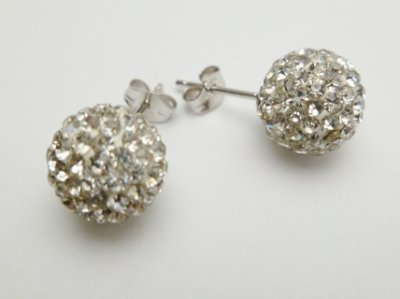 925 Silver 10mm White Crystal Ball Post Earring