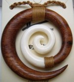 48mm Natural Koa Wood Spiral/ Buffalo Bone with Brown Cord