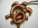 41mm x 49mm Natural Koa Wood Double Turtle w/ Brown Cord