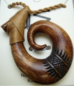 37mm x 50mm Natural Koa Wood Carved Fish Hook w/ Brown Cord