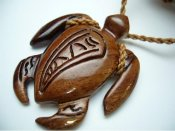 Natural Koa Wood Turtle with Adjustable Brown Cord