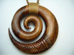 50mm Natural Koa Wood Carved Spiral with Adjustable Brown Cord