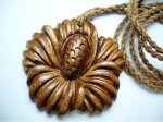 Natural Koa Wood Hibiscus Flower with Adjustable Brown Cord