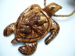 Natural Koa Wood Turtle w/ Frog on Top w/ Adjustable Brown Cord