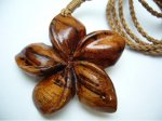 Natural Koa Wood Plumeria Flower with Adjustable Brown Cord