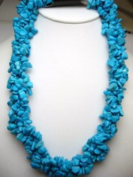 4 Strand Twisted Turquoise Necklace w/15mm Copper Steer Claps