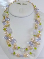 "Double Strand Semi-Precious Stone 18"" Necklace with Hook Clasp"