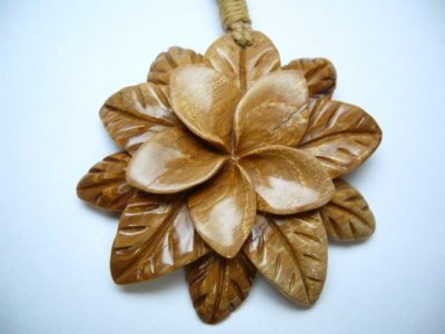 Historical Mammoth Ivory Plumeria Flower w/Brown Adjustable Cord