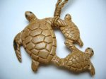 Historical Mammoth Ivory Trpple Turtle w/ Brown Adjustable Cord