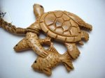 Historical Mammoth Ivory Turtle & Fish in Brown Adjustable Cord
