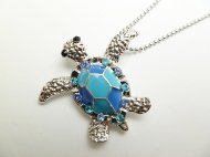 Blue Turtle w/ Blue CZ Crystal Pendant w/ 1.2mm 18KGP Ball Chain