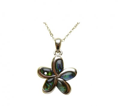 "Paua Shell Plumeria Flower Pendant w/ 18"" Ball Chain"