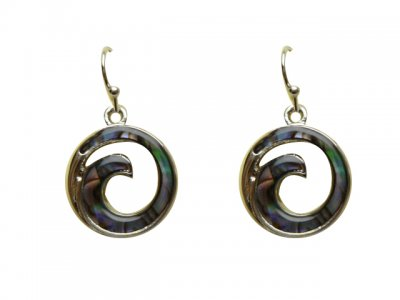 Paua Shell Wave Dangle Earring