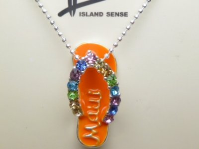 "23mm Orange Fashion Slipper ""Maui"" with C.Z Stone w/ Ball Chain"