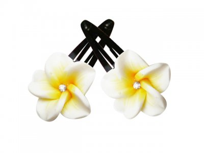 25mm White and Yellow Fimo Flower Hair Clip