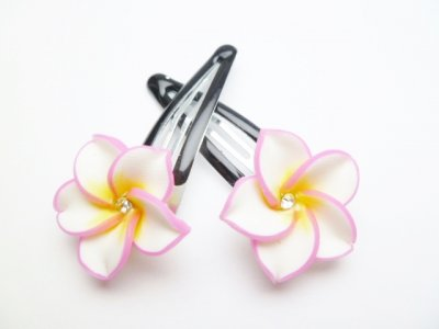 25mm White and Pink Fimo Flower Hair Clip