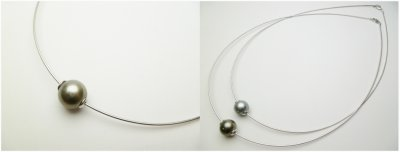 12mm Tahitian Pearl on 925 Silver Omega Chain 18""