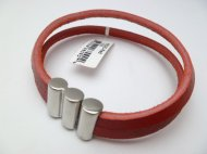 Red Color Leather Bracelet with Stainless Steel Clasp