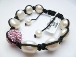 White Fresh Water Pearls w/ Pink Crstyal Ball Bracelet