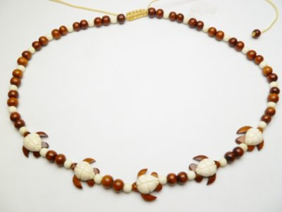 5 Turtle Bone & Wood Pendant with Bayong Wood Bead Necklace