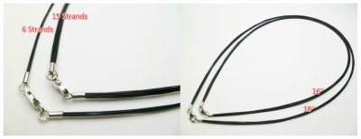 15 Strands Black Steel Wire Necklace with 925 Silver