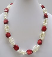 "18"" Sea Bamboo with Fresh Water Pearl Necklace"