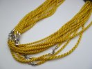 2mm Gold American Satin Twist Braid Necklace with 925 Silver